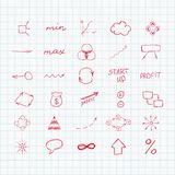 Set of simple hand drawn signs and symbols. Sketch. Business and start up. Vector illustration. Easy to paste to any background Royalty Free Stock Image