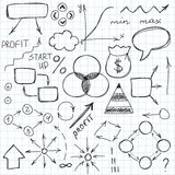 Set of simple hand drawn signs and symbols. Sketch Royalty Free Stock Image