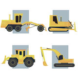 Set of simple icon of heavy machines. Royalty Free Stock Images