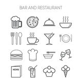 Set of simple icons for bar, cafe and restaurant Royalty Free Stock Photography