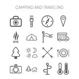 Set of simple icons for camping and traveling. Set of simple isolated icons for camping and traveling Stock Image