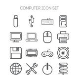 Set of simple icons for computer, web, tablet, application, internet and network Stock Photo
