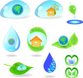 A set of simple icons on  environmental theme Royalty Free Stock Photos