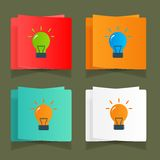 Set of simple icons flat color light bulbs Stock Image