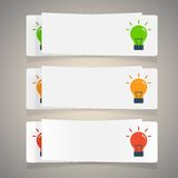 Set of simple icons flat color light bulbs Stock Images