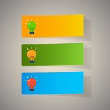 Set of simple icons flat color light bulbs Royalty Free Stock Images