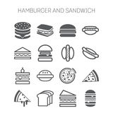 Set of simple icons with hamburgers, sandwiches Royalty Free Stock Photography