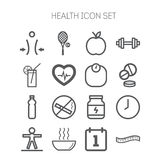 Set of simple icons for health and sport Royalty Free Stock Photography