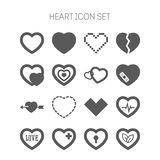 Set of simple icons with heart for Valentine day Royalty Free Stock Photography
