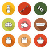 Set of simple icons with japanese cuisine objects Stock Photography
