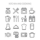 Set of simple icons for kitchen and cooking Royalty Free Stock Photo