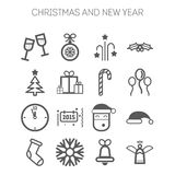 Set of simple icons for New Year and Christmas Stock Photos