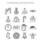 Set of simple icons for New Year and Christmas Royalty Free Stock Image