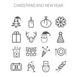 Set of simple icons for New Year and Christmas Royalty Free Stock Photos