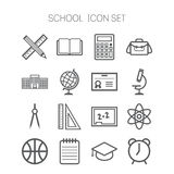 Set of simple icons for school and education Royalty Free Stock Images