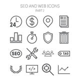 Set of simple icons for search engine optimization, web, business and management Stock Photo