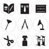 Set Of 9 simple  icons. Such as Book, Graduate, Scissors, Desk lamp, Compass, Pom pom, Diploma, Uniform, Homework, can be used for mobile, web UI Stock Photography