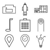 Set Of 9 simple  icons. Such as bulb, location pin, location, finger, locked bag, golf, building, rocket, homefire, can be used for mobile, web UI Royalty Free Stock Photos