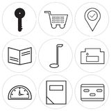 Set Of 9 simple  icons. Such as card, calculator, speedometer, homefire, golf, book, location pin, shopping card, key, can be used for mobile, web UI Stock Image
