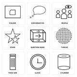 Set Of 9 simple  icons. Such as cylinder, clock, trash bin, thread, question mark, stars, people, conversation, folder, can be used for mobile, web UI Royalty Free Stock Photography