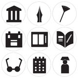 Set Of 9 simple  icons. Such as Graduate, Calendar, Bell, Homework, Watercolor, Briefcase, Pom pom, Pen, History, can be used for mobile, web UI Royalty Free Stock Images