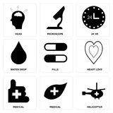 Set Of 9 simple  icons. Such as helicopter, medical, medical, heart love, pills, water drop, 24 hr, microscope, head, can be used for mobile, web UI Stock Photo