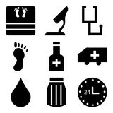 Set Of 9 simple  icons. Such as 24 hr, pills, water drop, ambulance, pills, foot, stethoscope, microscope, medical, can be used for mobile, web UI Stock Images