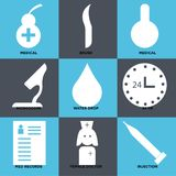 Set Of 9 simple  icons. Such as injection, female doctor, med records, 24 hr, water drop, microscope, medical, brush, medical, can be used for mobile, web UI Stock Photography