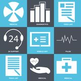 Set Of 9 simple  icons. Such as medical, medical, todo list, pulse, mobile app, 24 support, todo list, diagnostics, medical, can be used for mobile, web UI Royalty Free Stock Photos
