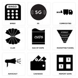 Set Of 9 simple  icons. Such as memory game, cashback, advocacy, marketing funnel, bag of chips, clam, commodities, 5g, bingo, can be used for mobile, web UI Royalty Free Stock Image