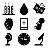 Set Of 9 simple  icons. Such as microscope, 24 hr, earth, baby, mobile app, heart, book, water drop, laboratory, can be used for mobile, web UI Royalty Free Stock Photos