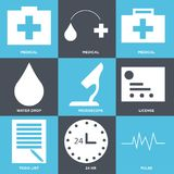 Set Of 9 simple  icons. Such as pulse, 24 hr, todo list, license, microscope, water drop, medical, medical, medical, can be used for mobile, web UI Royalty Free Stock Photos