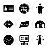 Set Of 9 simple  icons. Such as pylon, on, odor, inflammation, soon, step 1, obesity, gmo free, personal details, can be used for mobile, web UI Stock Photo