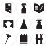 Set Of 9 simple  icons. Such as Scarfs, Agenda, Pom pom, Graduate, Chemistry, Theater, Homework, Graduate, Diploma, can be used for mobile, web UI Stock Photo
