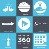 Set Of 9 simple  icons. Such as scratch card, 360 image, sprinkler, call now, plug and play, breaking news, baby safe, appetite, , can be used for mobile, web Stock Photos