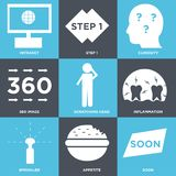 Set Of 9 simple  icons. Such as soon, appetite, sprinkler, inflammation, scratching head, 360 image, curiosity, step 1, intranet, can be used for mobile, web UI Royalty Free Stock Photo