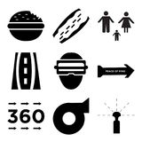 Set Of 9 simple  icons. Such as sprinkler, turbo, 360 image, peace of mind, augmented reality, family transparent icion on white background, in black Stock Photo