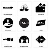 Set Of 9 simple  icons. Such as step 1, inflammation, commodities, soon, 5g, baby safe, cashback, breaking news, can be used for mobile, web UI Stock Photo