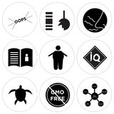 Set Of 9 simple  icons. Such as supply chain, gmo free, sea turtle, IQ, obesity, user guide, odor, durable, oops, can be used for mobile, web UI Stock Images