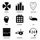 Set Of 9 simple  icons. Such as 24 support, helicopter, heart pulse, eye, calendar, head, heart love, diagnostics, medical, can be used for mobile, web UI Stock Photos