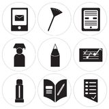 Set Of 9 simple  icons. Such as Test, Homework, Glue stick, Folder, Pencil, Graduate, Ebook, Pom pom, Chalk, can be used for mobile, web UI Stock Photography