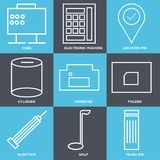 Set Of 9 simple  icons. Such as trash bin, golf, injection, folder, homefire, cylinder, location pin, electronic machine, cube, can be used for mobile, web UI Royalty Free Stock Photos
