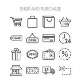 Set of simple icons for shop, market, bank and Stock Images