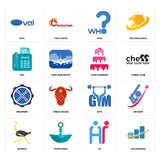 Set of accounting, hr, ostrich, gym, drummer, cake company, fax, who, oval icons. Set Of 16 simple  icons such as accounting, hr, paper boat, ostrich, cricket Royalty Free Stock Image