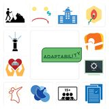 Set of adaptability, specification, number players, telecom, dab, buffering, car dealer, sprinkler icons. Set Of 13 simple  icons such as adaptability Royalty Free Stock Images
