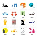 Set of advisor, next steps, shepherd, bag chips, folded hands, inquiry, earthquake, dab, hiker icons. Set Of 16 simple  icons such as advisor, next steps Royalty Free Stock Image