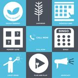 Set Of 9 simple  icons. Such as advocacy, plug and play, lucky draw, bingo, call now, memory game, scratch card, lavender, vegan friendly, can be used for Stock Photos