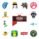 Set of all news channel, qf, steakhouse, mobile os a, gryphon, fishing team, thistle, skull with headphone, krishna icons. Set Of 13 simple  icons such as all Royalty Free Stock Images
