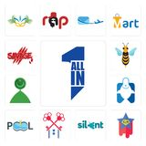 Set of all in one, superstar, silent, , pool company, fishing store, muslim crescent, hornet, savage icons. Set Of 13 simple  icons such as all in one, superstar Royalty Free Stock Photo