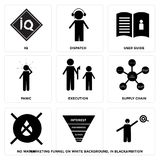Set Of 9 simple  icons. Such as ambition, marketing funnel on white background, in black,, no water, supply chain, execution, panic, user guide, dispatch, IQ Stock Image